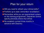 plan for your return