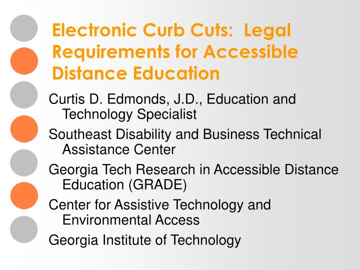 electronic curb cuts legal requirements for accessible distance education n.