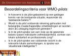 beoordelingscriteria voor wmo pilots