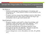 sample non negotiables for integrated comprehensive services