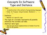 concepts in software type and instance