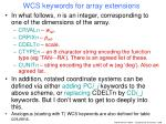 wcs keywords for array extensions