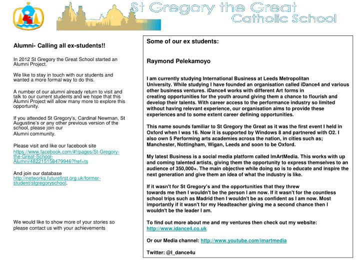 PPT - Alumni- Calling all ex-students!! In 2012 St Gregory