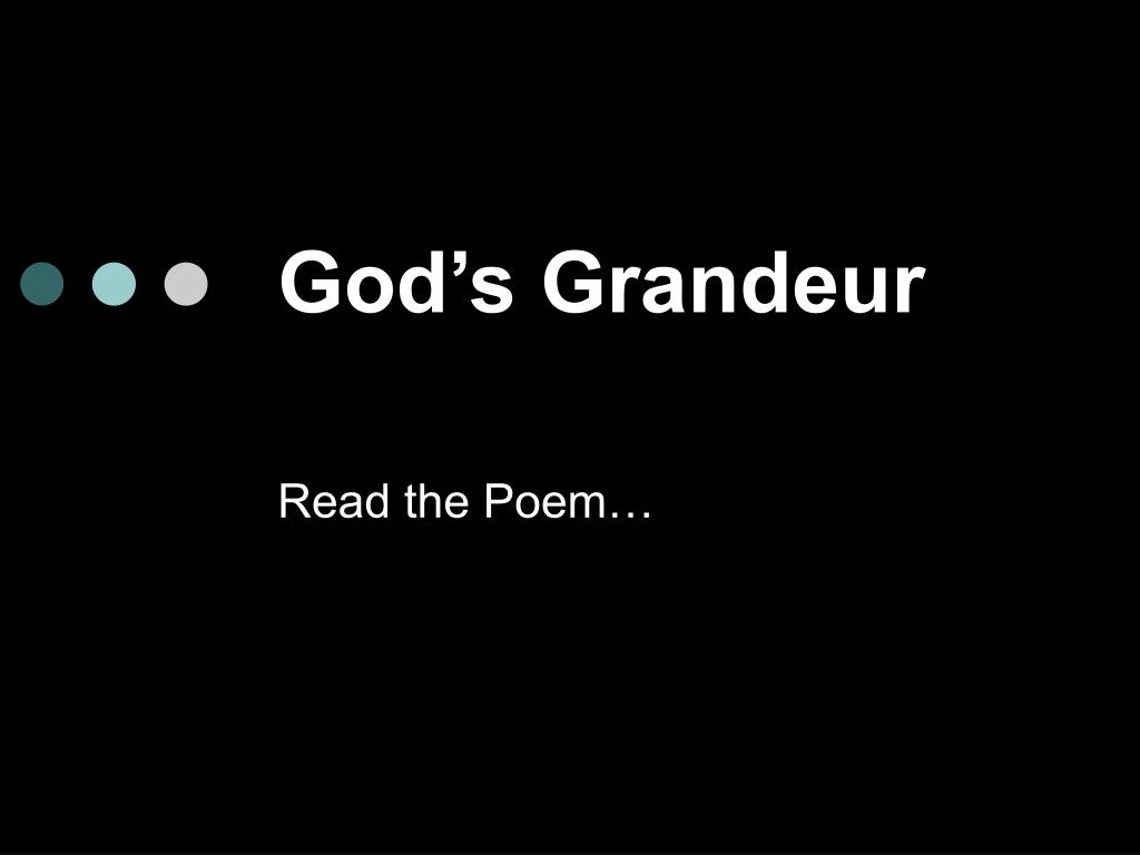 what is the poem gods grandeur about