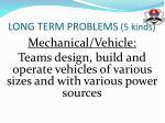 long term problems 5 kinds