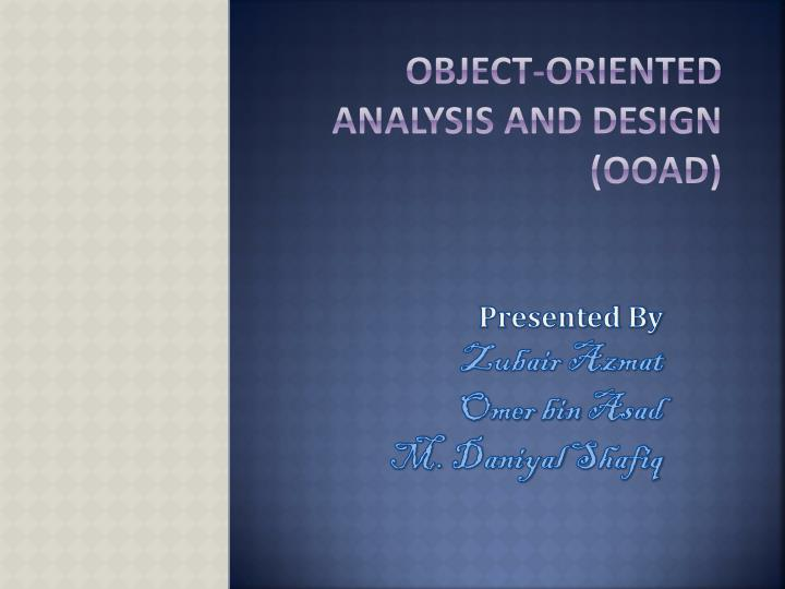 object oriented analysis and design ooad n.