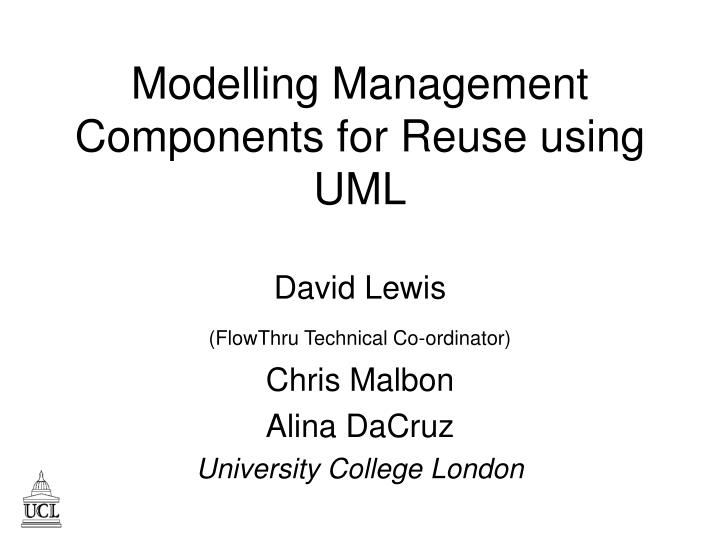 modelling management components for reuse using uml n.