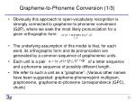 grapheme to phoneme conversion 1 3
