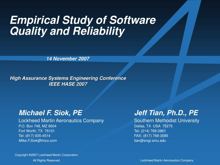 empirical study of software quality and reliability n.