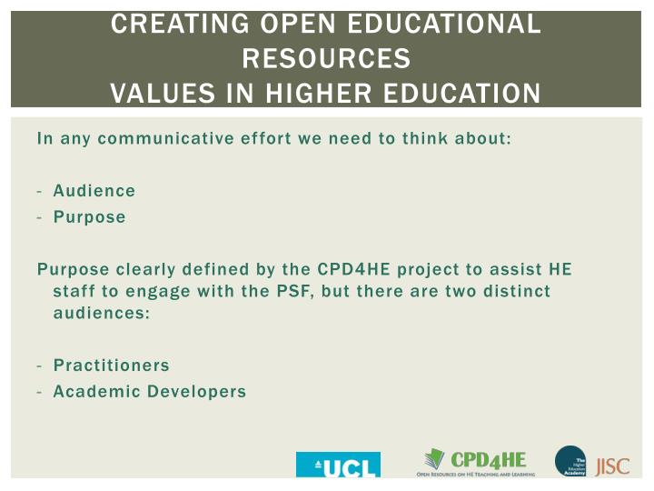 creating open educational resources values in higher education n.