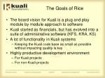 the goals of rice