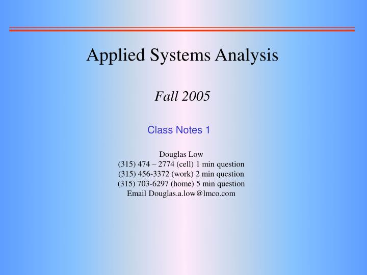 applied systems analysis fall 2005 n.