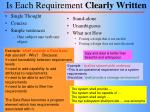 is each requirement clearly written