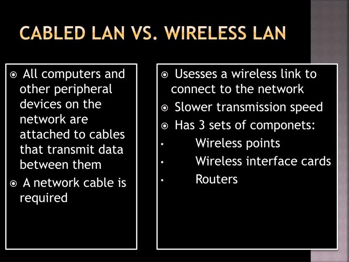 Cabled LAN vs. Wireless
