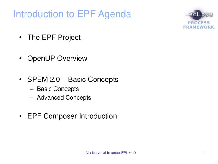 introduction to epf agenda n.