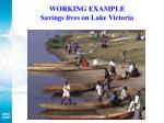 working example savings lives on lake victoria