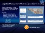 logistics management usable airport search mashup