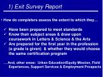 1 exit survey report