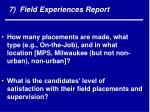 7 field experiences report