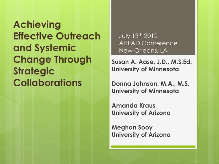 achieving effective outreach and systemic change through strategic collaborations n.