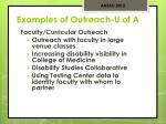 examples of outreach u of a