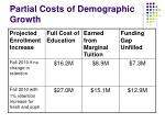 partial costs of demographic growth