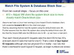 match file system database block size