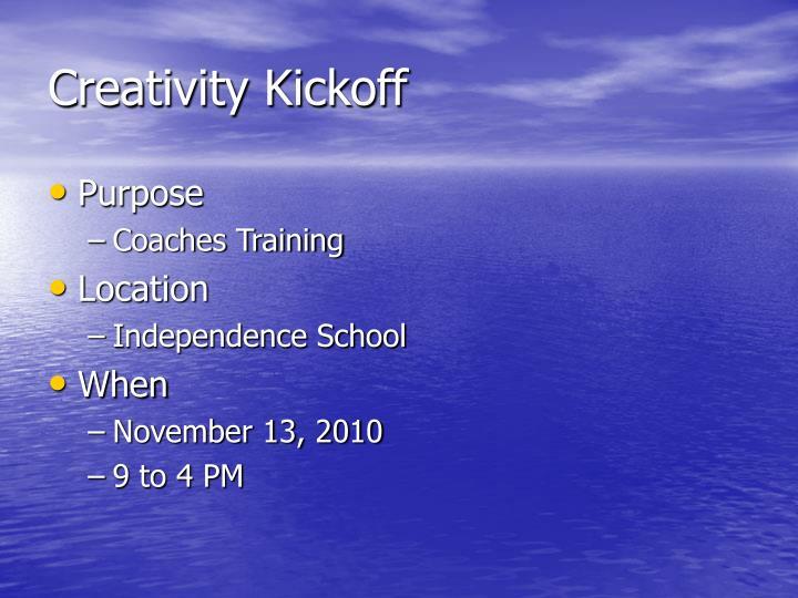 Creativity Kickoff