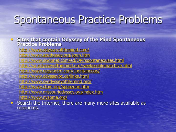 Spontaneous Practice Problems