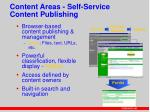 content areas self service content publishing