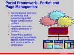 portal framework portlet and page management