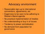 advocacy environment