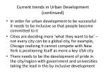 current trends in urban development continued