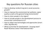 key questions for russian cities
