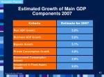 estimated growth of main gdp components 2007