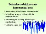 behaviors which are not homosexual acts