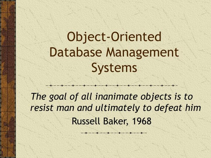 object oriented database management systems n.