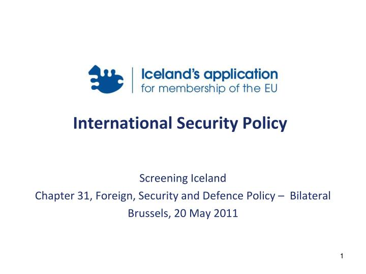 international security policy n.
