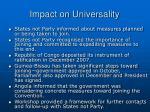 impact on universality