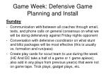 game week defensive game planning and install1