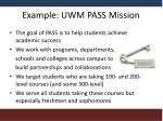 example uwm pass mission