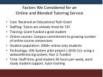 factors we considered for an online and blended tutoring service