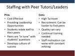 staffing with peer tutors leaders