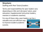 structure staffing with peer tutors leaders