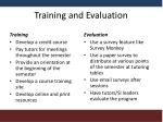 training and evaluation