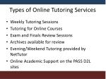 types of online tutoring services