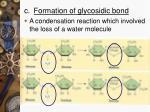 c formation of glycosidic bond