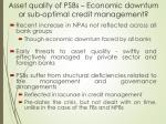 asset quality of psbs economic downturn or sub optimal credit management