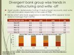 divergent bank group wise trends in restructuring and write off
