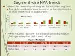 segment wise npa trends